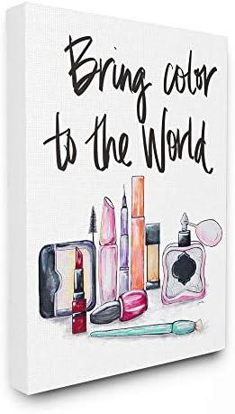 Stupell Industries World Makeup Fashion Modern Watercolor Word Design Canvas Wall Art