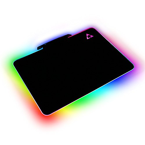LED Lighting Hard Gaming Mouse Pad, RGB Colorful Computer Notebook Mac Mice Mat - Black