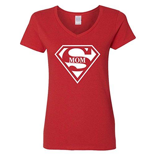 Super Mom V-Neck T-Shirt Womens Supergirl Superman Superwoman Movie Girl Mother (Superwoman Outfit)