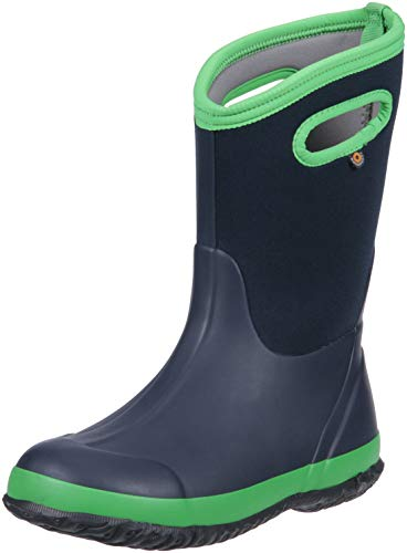 Bogs Classic High Waterproof Insulated Rubber Neoprene Rain Boot Snow, Matte Navy/Green, 2 M US Little Kid
