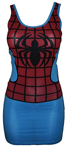 Marvel Comics Junior's I Am Spiderman Costume Pencil Dress (Medium) (Different Spiderman Costumes)