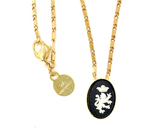 Wedgwood Authentic Cameo in Gold Plate Pendant Setting - Crowned Lion on Black