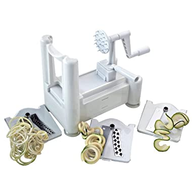 ChefLand Tri Blade Vegetable Spiral Slicer with 100% Lifetime Guarantee, Veggie Pasta Spaghetti Noodle Maker and Peeler