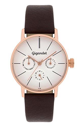 Gigandet Damen-Armbanduhr Minimalism Quarz Multifunktion Uhr Datum Analog Lederarmband Rotgold Braun G38-004