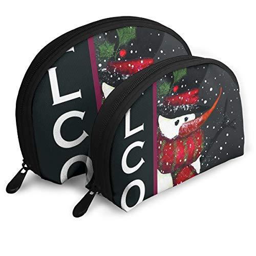 (Jingclor Pack of 2 Womens Shell Cosmetic Bags - Snowman Welcome Art Pattern Portable Travel Makeup Handbag Waterproof Toiletry Organizer Storage Bags)