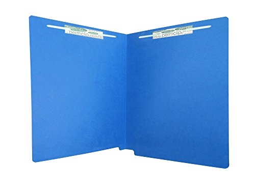 Medical Arts Press Match Heavy Duty Colored End Tab Folders with 2 Permclip Fasteners- Dark Blue, Letter Size, 20pt (Blue Medical Records)