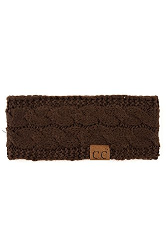 ScarvesMe C.C Womens Sherpa Lined Winter Cable Knit Headband Headwrap (Brown) by ScarvesMe (Image #1)