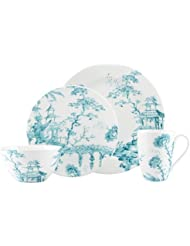 SCALAMANDRE BY LENOX TOILE TALE TEAL 4 piece place setting