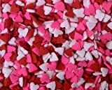 Edible Confetti Sprinkles Cake Cookie Cupcake Quins Valentines Day Red, Pink, White Hearts 8 Ounces, Health Care Stuffs