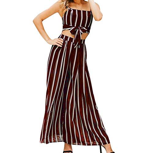 Womens Outfit 2 Piece,Summer Front Knot Crop Tank Top+Leg Pants Set Stripe Elegant Tracksuit 2pcs Night Out Suit Beachwear (Wine Red, S)