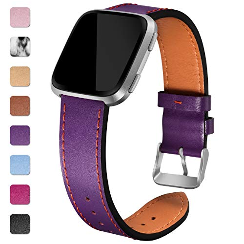 Maledan Leather Bands for Fitbit Versa, Plum ()