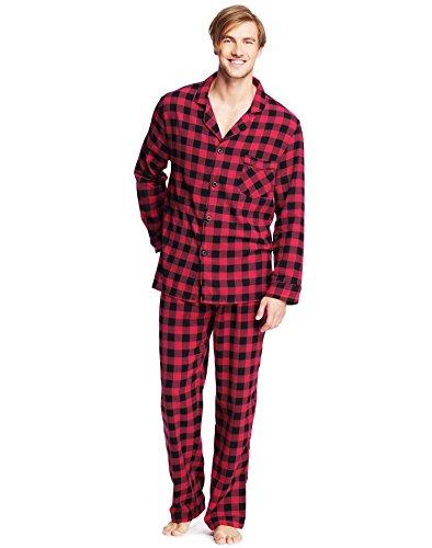 Hanes Men`s Flannel Pajamas, M, Buffalo Plaid