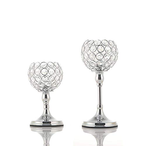 VINCIGANT Silver Crystal Pillar Candle Holders Set of 2(No Assembly Needed) for Votive Tealight Candles/Modern Home Decor Gift for Anniversary Celebration/Table Centerpieces,8 and 10 Inches Tall