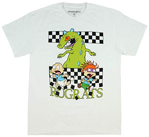 Nickelodeon Rugrats Shirt Tommy and Chuckie Run from Reptar Character T-Shirt (Large) White]()