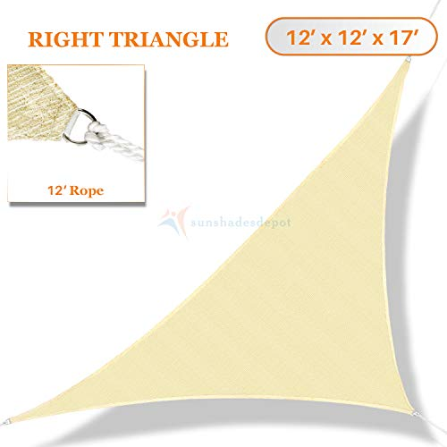 (TANG Sunshades Depot 12x12x17' FT 180 GSM Beige Sun Shade Sail Canopy Rectangle Sand UV Block Sunshade for Backyard Yard Deck Dock Patio Pergola Garden Lawn Outdoor Facility and Activities)