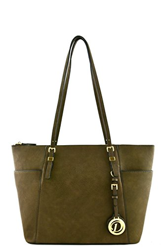 womens-designer-faux-leather-tote-bag-with-side-open-pockets-va2001-olive