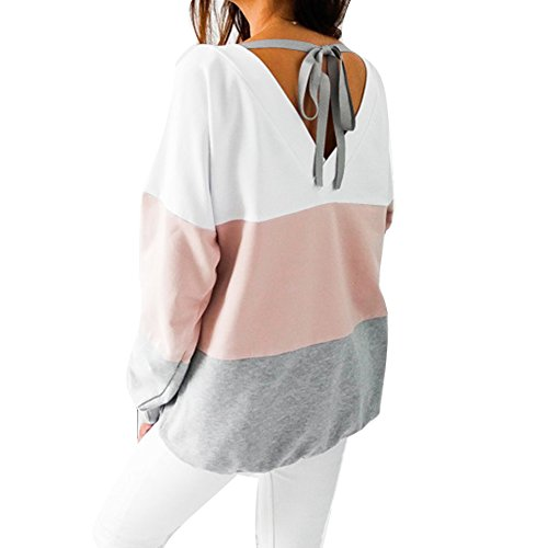 Tops Femme Longues Loose Ouvert Dentelle Sweatshirt Shirts Rose Casual Juleya Manches Stripe Dos T Blouses qw5Hx7F