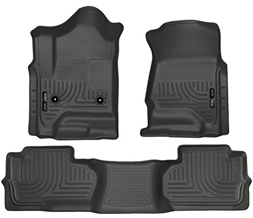 (Husky Liners 98241 Black Weatherbeater Front & 2nd Seat Floor Liners Fits 2014-2018 Chevrolet-GMC Silverado/Sierra 1500 Double Cab, 2019 Chevrolet-GMC Silverado/Sierra 1500 Legacy, 2015-2019 Chevrolet Silverado 2500/3500 HD Double Cab)
