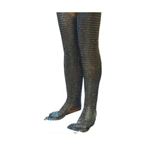 Image of Allbeststuff Flat Riveted Flat Washer Chain Mail Leggings Medieval Chainmail Chausses Leg ABS Fencing
