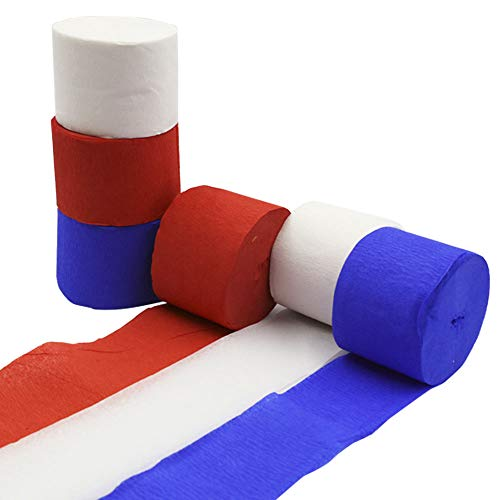 Crepe Paper Streamer Rolls Hanging Party Decoration Total 490-Feet, 6Rolls, Theme Party Streamer for Wedding Bridal Baby Shower Birthday Art Project Supplies, by BllalaLab(White, Red, Blue -Patriot) -