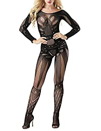 Women Bodystocking Plus Size Sexy Crotchless Bodysuits Lady Long Sleeve Lingerie