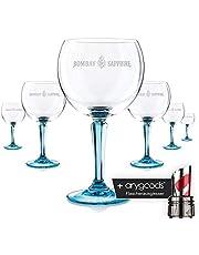 6 x Bombay szkło szafirowe / szklanki szklanki do koktajli eleganckie okrągłe nóżki gastronomiczne baru dekoracyjne + wylewka do butelek