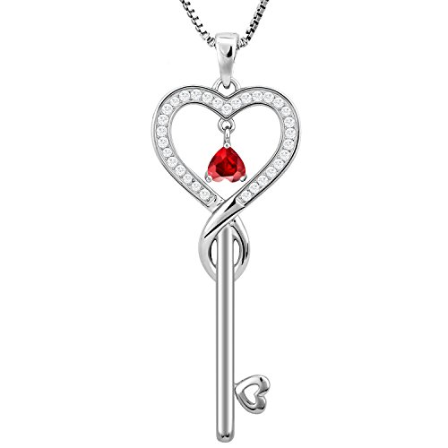 Birthday Gifts, January Birthstone Good Lucky Heart Key Necklace, Infinity Endless Love Jewelry for Women, Mother & Daughter Necklace, Gifts for mom, sister, grandma, wife, friendship (Garnet)