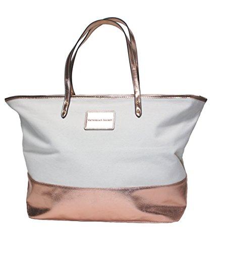 Victoria's Secret Rose Gold Off-White Canvas Large Tote Bag