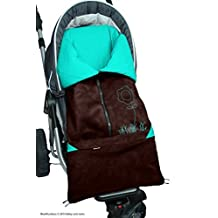 ByBoom? - Footmuff 2in1 for Spring, Summer and Autumn/Fall; Universal for infant and child car seats, eg; Maxi-Cosi, for a pushchair/stroller or buggy, Color:Brown/Aqua by ByBoom