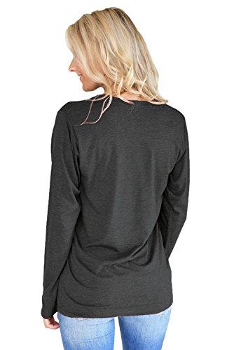 New lettera stampato nero maglia a maniche lunghe pullover camicetta estate camicia top casual Wear taglia UK 12EU 40
