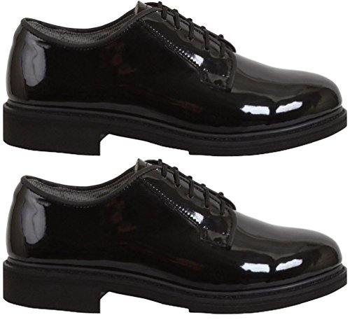 Military Dress Shoes Uniform Hi-Gloss Navy Oxford Dress Shoes - Lined Oxford Uniform