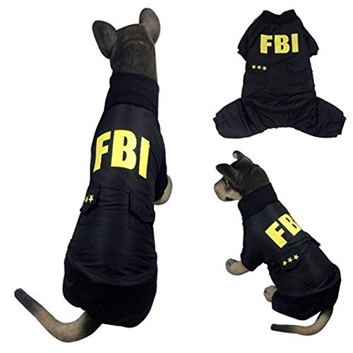 Coppthinktu FBI Dog Costume - Adorable Halloween Dog Costumes FBI Style Hoodie Soft and Comfortable Jumpsuits for Dogs -