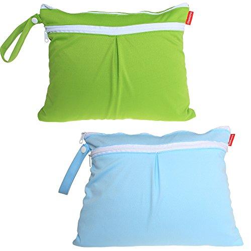Damero 2pcs / pack linda del recorrido del bebé seco y húmedo pañal de tela Organizador Bolsa--Pequeña(Verde+azul Chevron) Verde+Azul