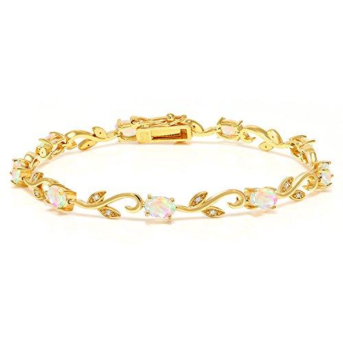 (Gem Stone King 18K Yellow Gold Plated Silver 2.83 Ct Ethiopian Opal Diamond Greek Vine 7 Inch Bracelet)