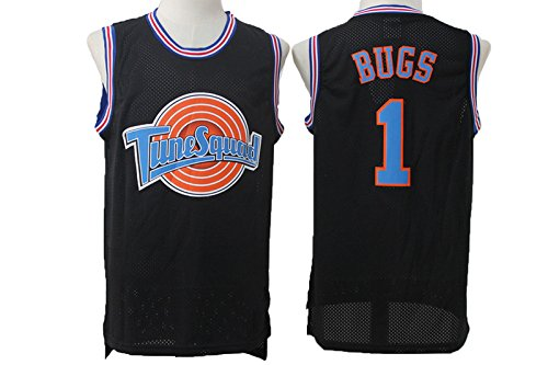 Bugs Bunny Mens Tune Squad #1 Basketball Bugs Black Mesh Space Jam Movie Jersey M