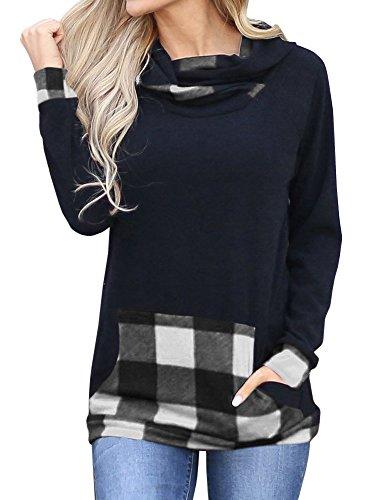 Umeko Womens Sweatshirts Buffalo Plaid Long Sleeve Shirt Pullover Hoodie Tunic Tops Hooded (Hooded Pullover Shirt)