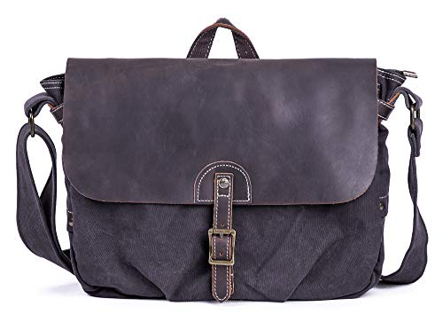 - Gootium Canvas Leather Messenger Bag - Vintage Shoulder Bag, Grey