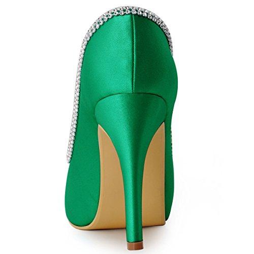 Elegantpark Ep11083 Femmes Pompes Peep Toe Strass Plate-forme Talon Haut Satin Soirée Bal Robe De Soirée Chaussures Vert