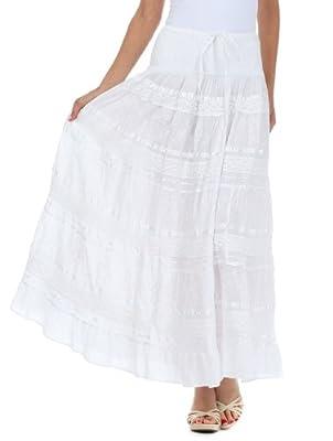 Sakkas Lace and Ribbon Peasant Boho Skirt