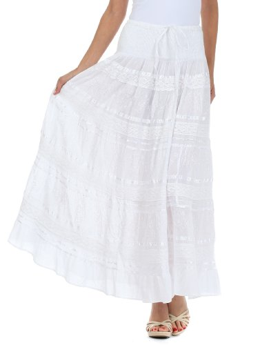 Sakkas 0604 Lace and Ribbon Peasant Boho Skirt - White - One Size (Gauze White)