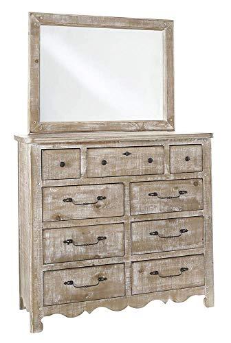 Progressive Furniture Drawer Dresser with Mirror in Distressed Chalk ()