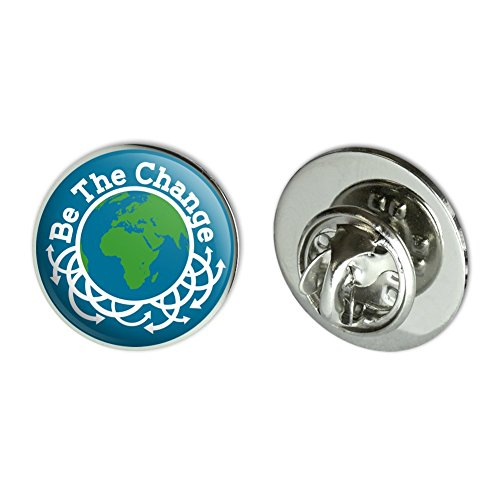 Motivational Pin - Be The Change Earth Inspirational Metal 0.75
