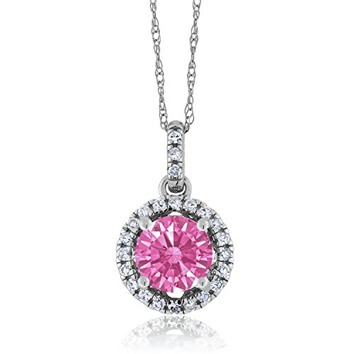 14K White Gold Solitaire w/Accent Stones Pendant White Diamond and Set with Pink Zirconia from Swarovski
