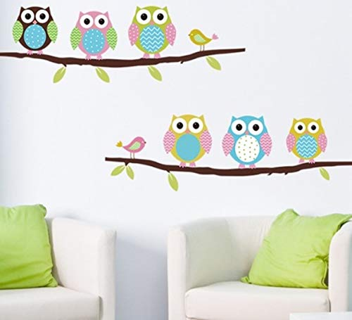 (1 Pack New Cartoon Children's Room Owl Animal Wall Sticker Bedroom Painted Flowers Jungle World Decal Kids Window Cars Decals Exciting Fashionable Vinyl Mural Art)