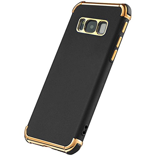 Galaxy S8 Plus Case, Ultra Slim Flexible Soft Galaxy S8 Plus Matte Case, Styles 3 in 1 Electroplated Shockproof Luxury Cover Case for Samsung Galaxy S8 Plus (BLACK)