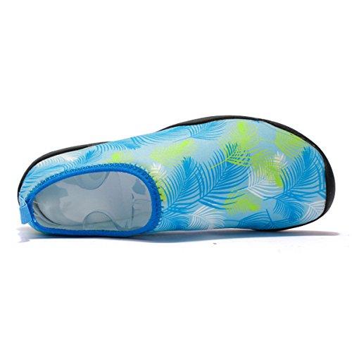 TAIGEL Herren und Damen Barfuß Wasser Sport Aqua Schuhe Quick-Dry Slip-On im Freien Schwimmen Beach Boating Schuhe 04-blau