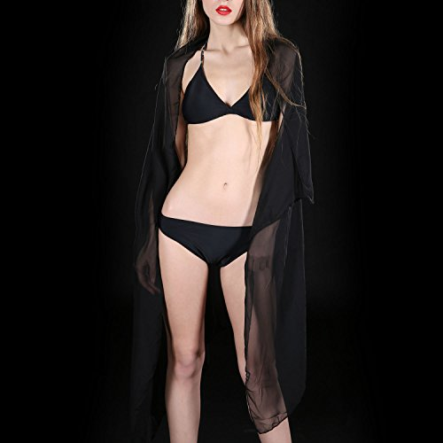 Mujeres Lady Girls Color sólido playa bufanda Bikini Fundaups Sarong Swimsuit Wrap traje de baño rojo Negro