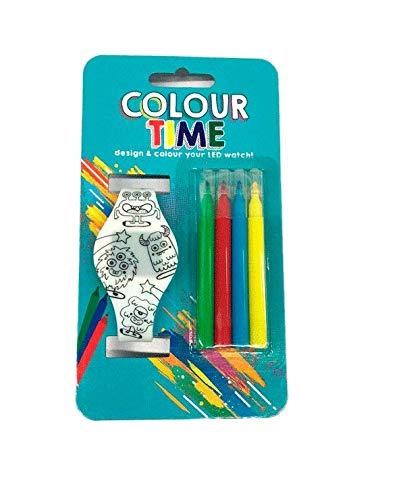 DISOK - Reloj LED para Colorear + 4 Rotuladores Unisex (Pilas Incluidas). Detalle niñ@s para Fiestas, cumpleaños, comuniones, Eventos.: Amazon.es: Relojes
