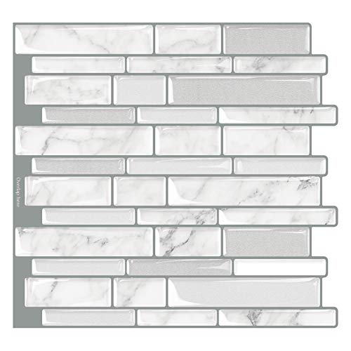 Tic Tac Tiles - Premium Anti Mold Peel and Stick Wall Tile Backsplash in Polito Design (Blanco, 6) by Tic Tac Tiles (Image #9)