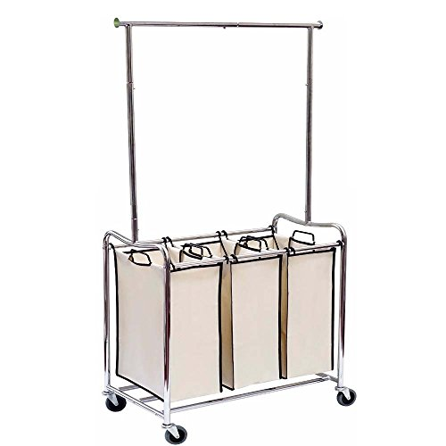 Hoffom 3-bag rolling Laundry sorter with hanging bar laun...